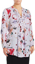 Melissa McCarthy Plus Pleated Chiffon Printed Long Sleeve Blouse