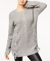 Hooked Up by Iot Juniors' Lace-Up Cable-Knit Sweater