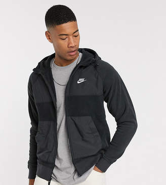 Nike Tall winter zip-through hoodie with nylon panels in black
