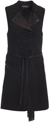 Ann Demeulemeester Double-breasted Wool-twill, Voile And Satin Vest