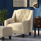 Alcott Hill Bloomington Upholstered Arm Chair and Ottoman
