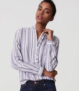 LOFT Striped Ruffle Henley Shirt