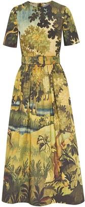 Oscar de la Renta Short Sleeve Belted Dress