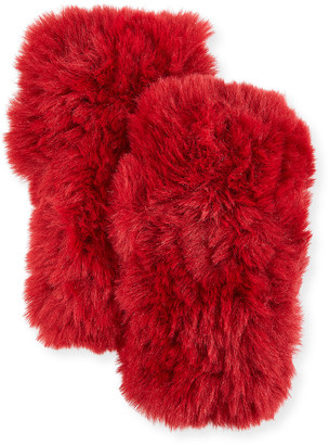 Surell Accessories Faux Fur Knitted Fingerless Mittens