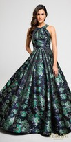 Terani Couture Floral Printed Halter Pleated Ball Gown