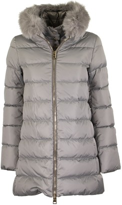 Herno Grey Down Jacket With Fur
