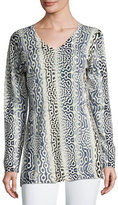 Neiman Marcus Superfine Sunburst-Print V-Neck Tunic