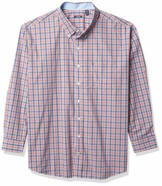 Izod Men's Big & Tall Tall Advantage Performance Plaid Long Sleeve Stretch Button Down Shirt