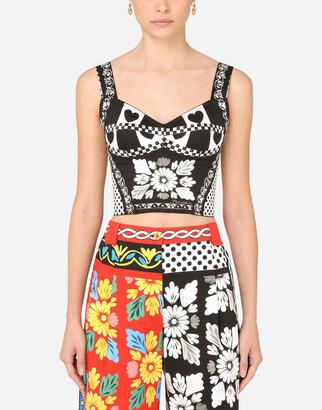 Dolce & Gabbana Patchwork-Print Drill Bustier Top