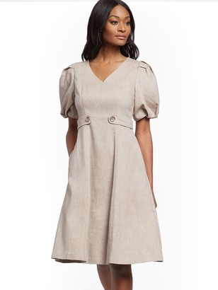 New York & Co. Puff-Sleeve Fit and Flare Dress