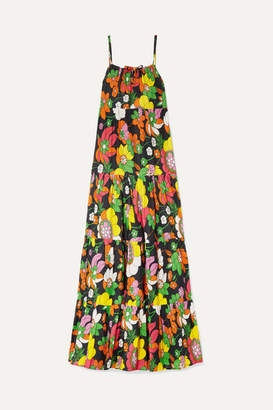 Dodo Bar Or Dorothy Tiered Floral-print Cotton-voile Maxi Dress - Black