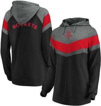Women's Fanatics Branded Gray/Black Houston Rockets True Classics Go All Out Chevron Pullover Hoodie
