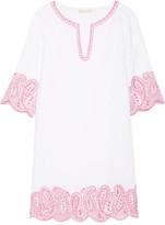 MICHAEL Michael Kors Broderie Anglaise Linen Mini Dress - White