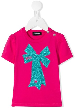 Diesel glitter bow logo print T-shirt