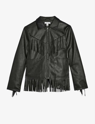 Topshop Roy faux-leather fringe jacket