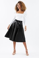 Coast Faux Leather Belted Midi Skirt