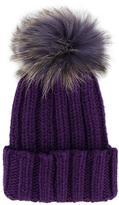 Inverni raccoon fur pom pom beanie hat