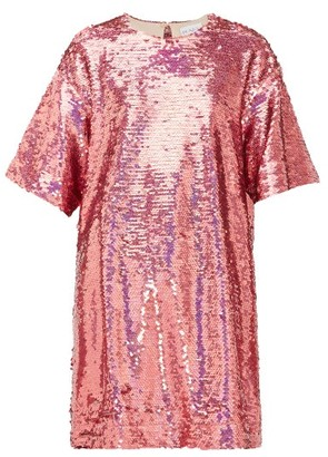 Raey Long-line Sequinned Top - Pink