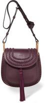 Chloé Hudson Small Whipstitched Leather Shoulder Bag - Grape