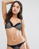 New Look Geo Mesh And Contrast Cuff Push Up Bra