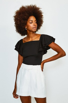 Karen Millen Square Neck Frill Sleeve Top