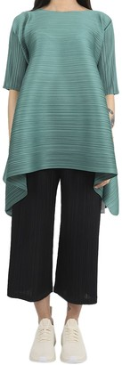 Pleats Please Issey Miyake Pleats Please Green Squared Tunic