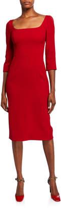 Dolce & Gabbana 3/4-Sleeve Crepe Open-Neck Dress