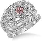 JeenJewels 2 Carat Morganite & Diamond Trilogy set Ring on 10k White Gold