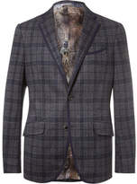 Etro Blue Slim-fit Checked Cotton And Wool-blend Blazer - Navy