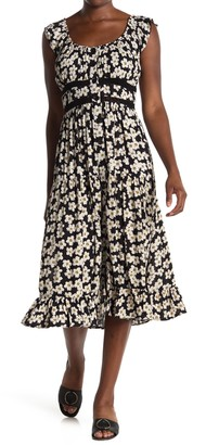 Angie Floral Button Front Ruffled Midi Dress