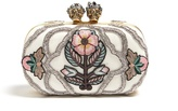 Alexander McQueen Queen and King skull embroidered clutch