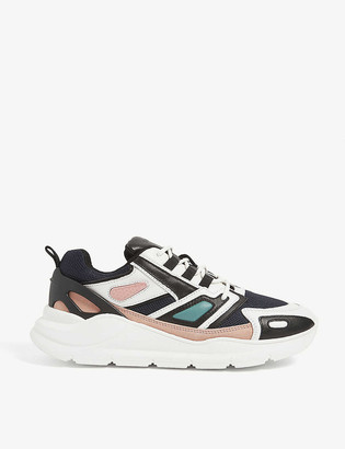 Sandro Futura leather and mesh technical trainers