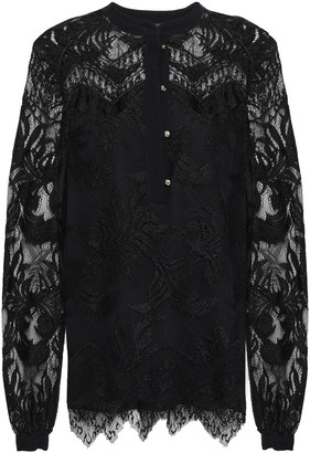 Just Cavalli Layered Scalloped Stretch-lace Blouse