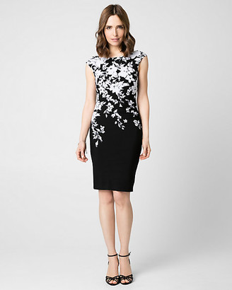 Le Château Floral Print Knit Boat Neck Shift Dress