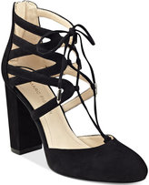 Marc Fisher Shellie Block-Heel Lace-Up Pumps