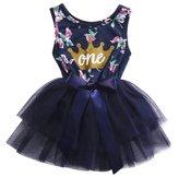 Hirigin Newborn Baby Girls Skirt Sleeveless Floral Crown Print Tutu Lace Princess Dress (12-18m, )