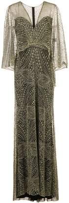 Tadashi Shoji Cypress embroidered overlay gown