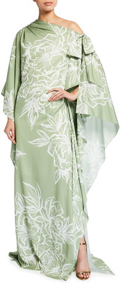 Badgley Mischka Off-Shoulder Floral-Print Caftan Gown