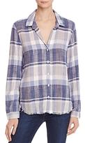 Bella Dahl Plaid Frayed Hem Shirt