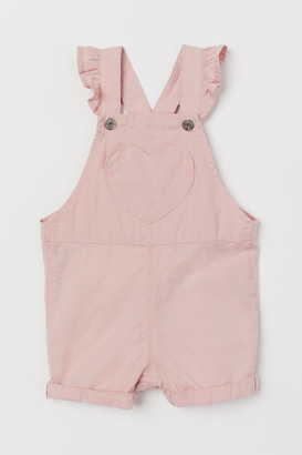 H&M Ruffle-trimmed Overall Shorts - Pink