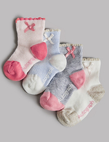Marks and Spencer 4 Pairs of Cotton Rich Socks (0-24 Months)