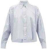 Isabel Marant Macao Striped Slubbed Cotton-poplin Shirt - Womens - Light Blue