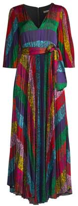 Alice + Olivia Meryl Pleated Tie-Waist A-Line Maxi Dress