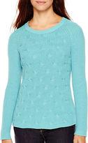 Liz Claiborne Long-Sleeve Shaker Stitch Sweater - Tall
