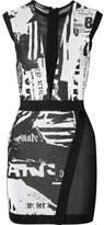 Balmain Mesh-paneled Jacquard-knit Mini Dress - Black