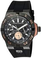 Vince Camuto Men's Quartz Stainless Steel and Silicone Dress Watch, Color:Black (Model: VC/1010RGBK)