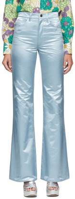 Marc Jacobs Blue Satin Flare Trousers