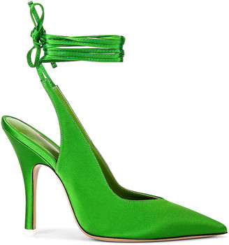 ATTICO Lace Up Slingback Heel in Green | FWRD