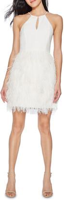 Parker Black Donna Feather Skirt Mini Halter Dress w/ Crystal Trim