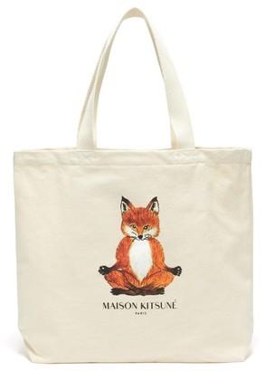 MAISON KITSUNÉ Lotus Fox-print Cotton-canvas Tote Bag - Mens - Beige